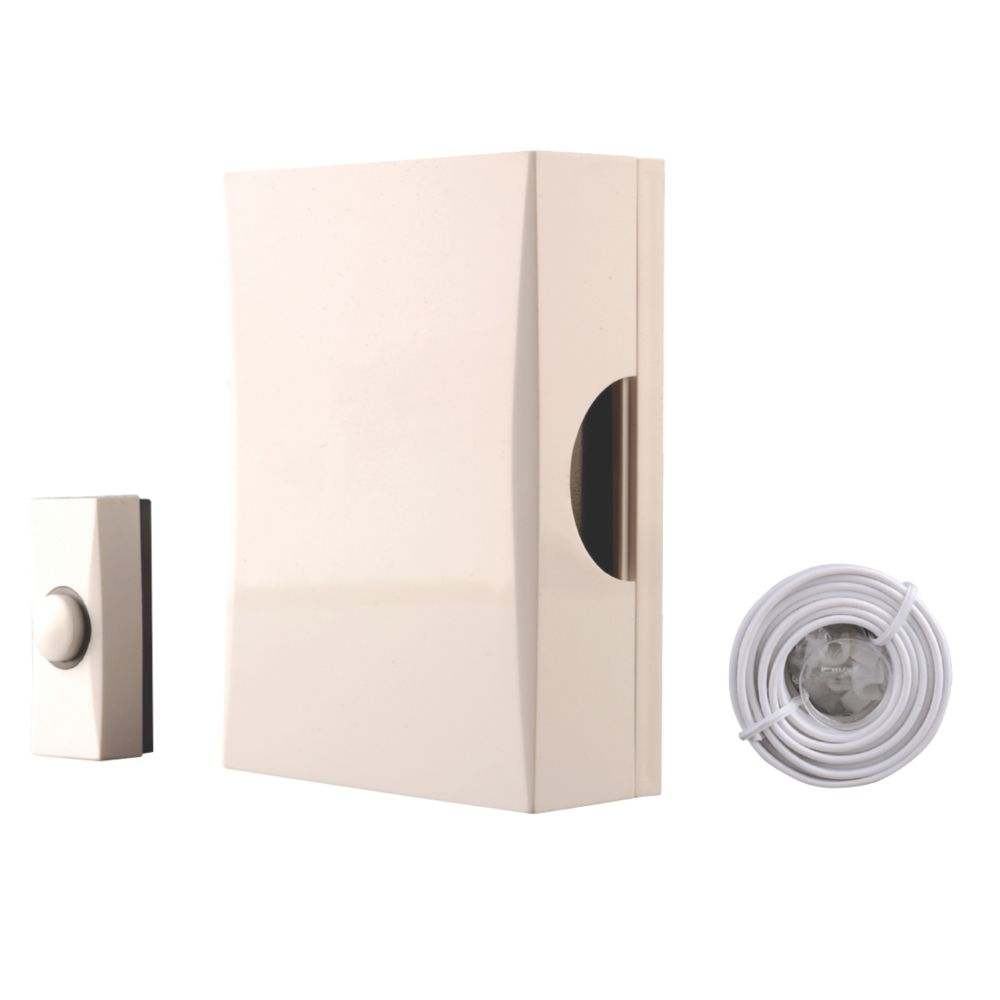 Image of Byron 720S Wired Wall-Mounted Doorbell Kit with Bell Push White