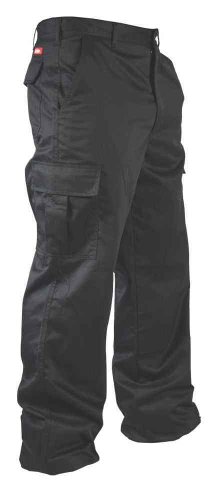 """Image of Lee Cooper Classic Cargo Trousers Black 40"""" W 31"""" L"""