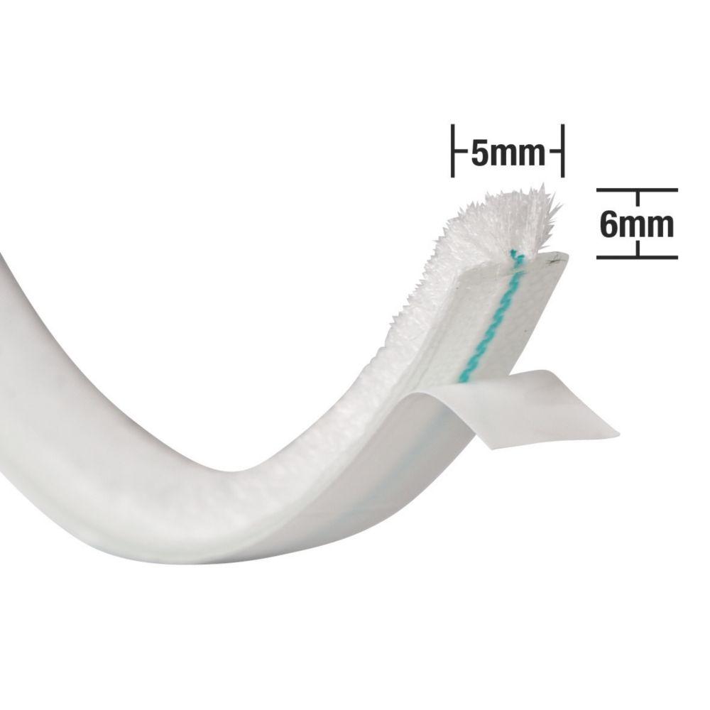 Image of Stormguard Self-Adhesive Brush Pile Weatherstrip White 5m 3 Pack