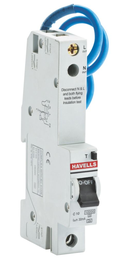 Image of Havells 10A Single Pole Type C Trip RCBO