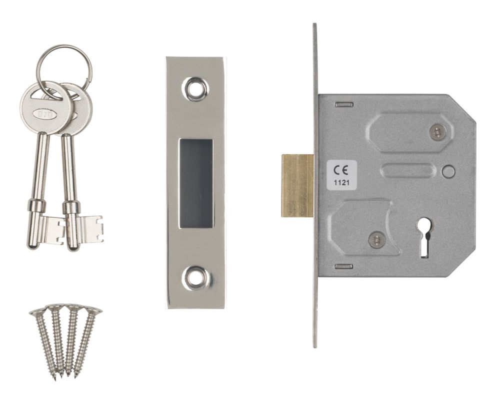 "Image of Smith & Locke 3-Lever 3-Lever Mortice Deadlock Nickel-Plated 2"" / 64mm"