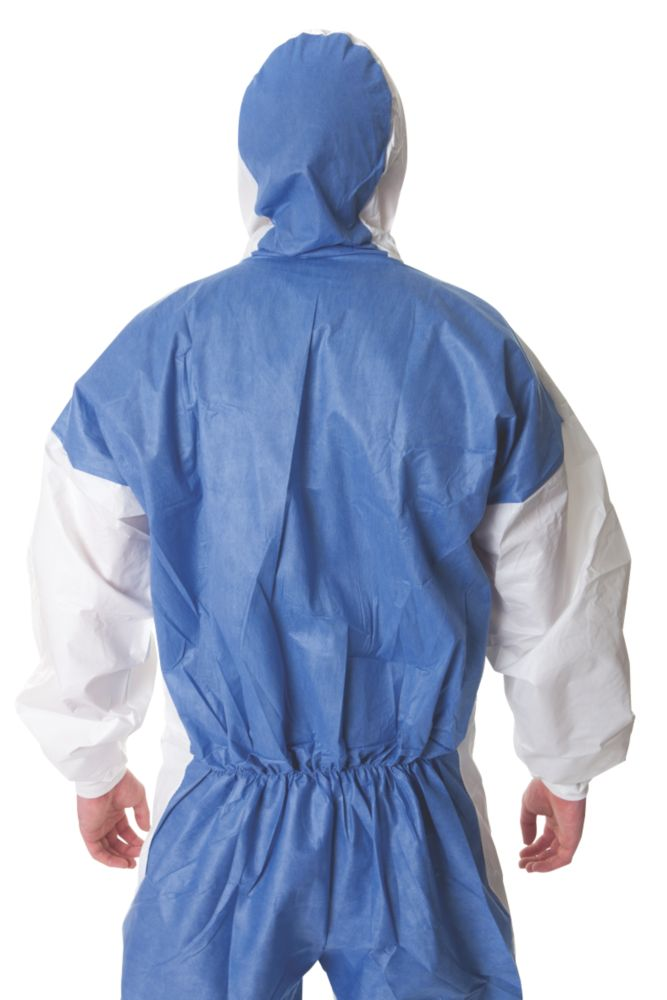 """Image of 3M 4535 Type 5/6 Disposable Coverall Blue/White Lge/X Lge 42-46"""" Chest L"""