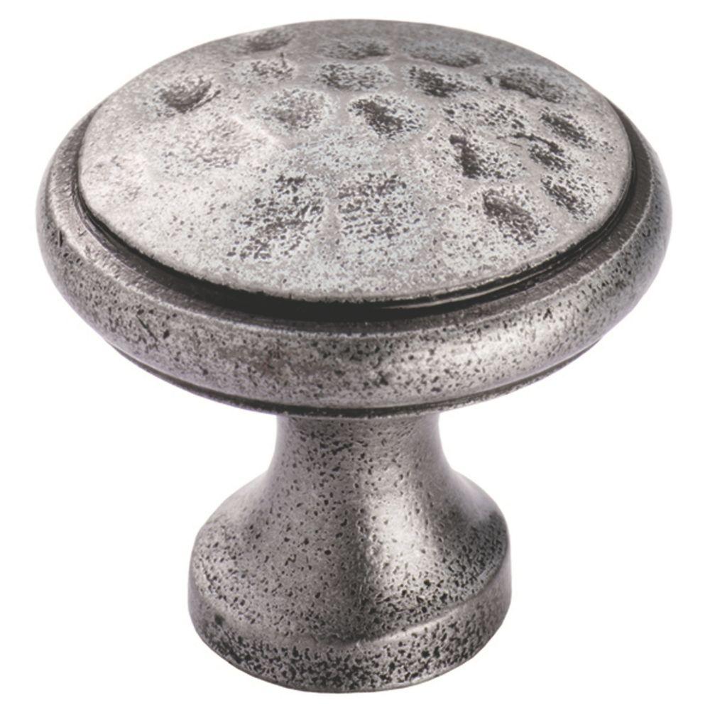Image of Carlisle Brass Beaten Cupboard Knob Pewter 40mm