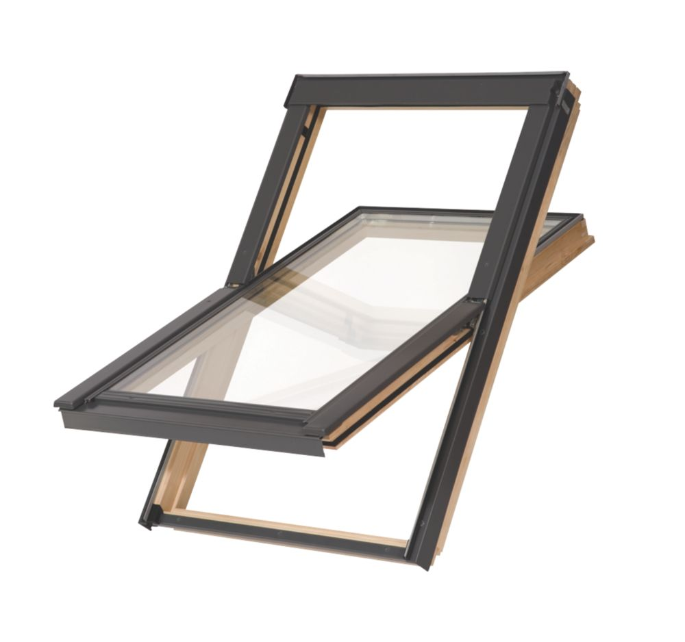 Image of Tyrem M6A Manual Centre-Pivot Lacquered Natural Pine Timber Roof Window Clear 780 x 1180mm