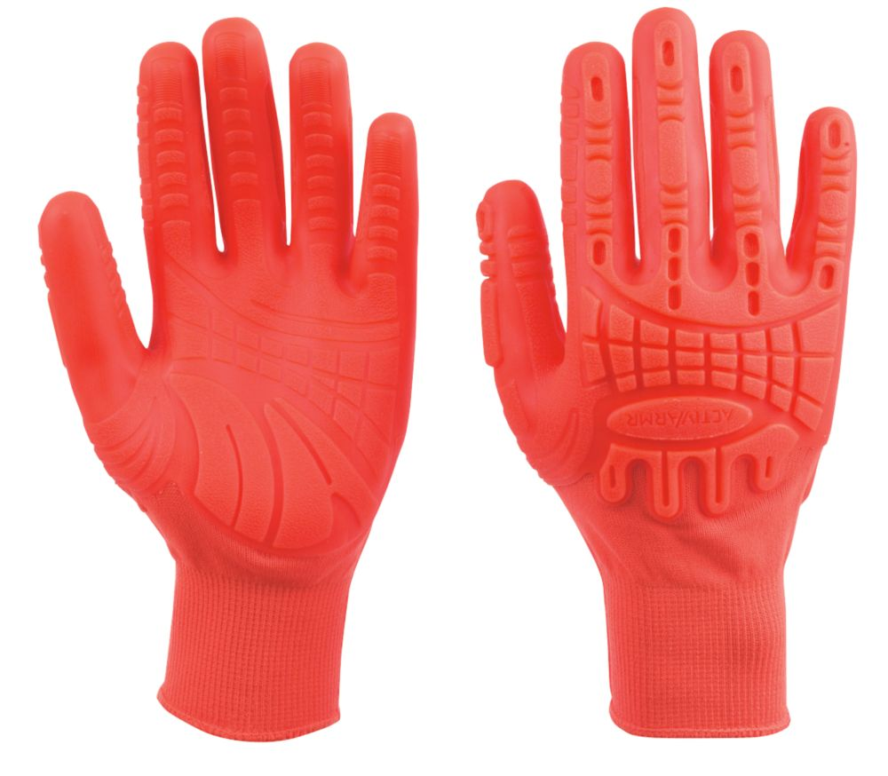 Image of Ansell Impact Protection Grip Gloves Orange Large