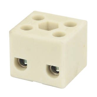 Image of Hylec Double Pole 32A Steatite Ceramic Terminal Blocks Pack of 5