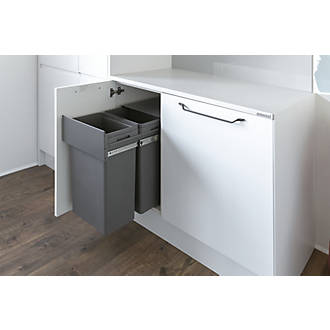 Image of Hafele Waste Boss Duo Pull-Out Kitchen Bin Anthracite Grey 2 x 32Ltr