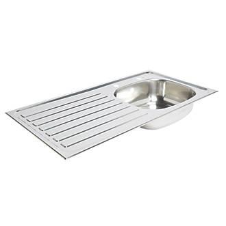 Kitchen Sink & Left-Hand Drainer Stainless Steel 1 Bowl 940 x ...