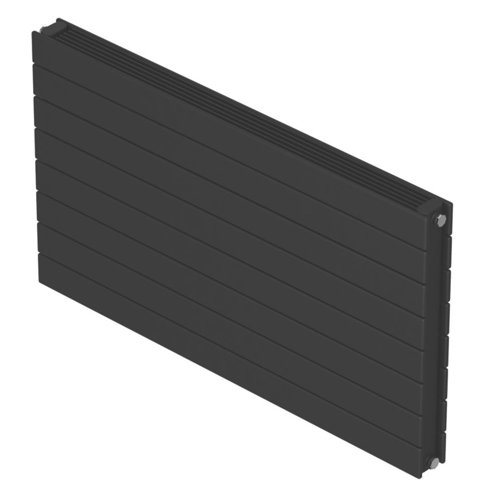 Image of Barlo Decorative Horizontal Double-Panel Designer Radiator Matt Charcoal 578 x 1200mm