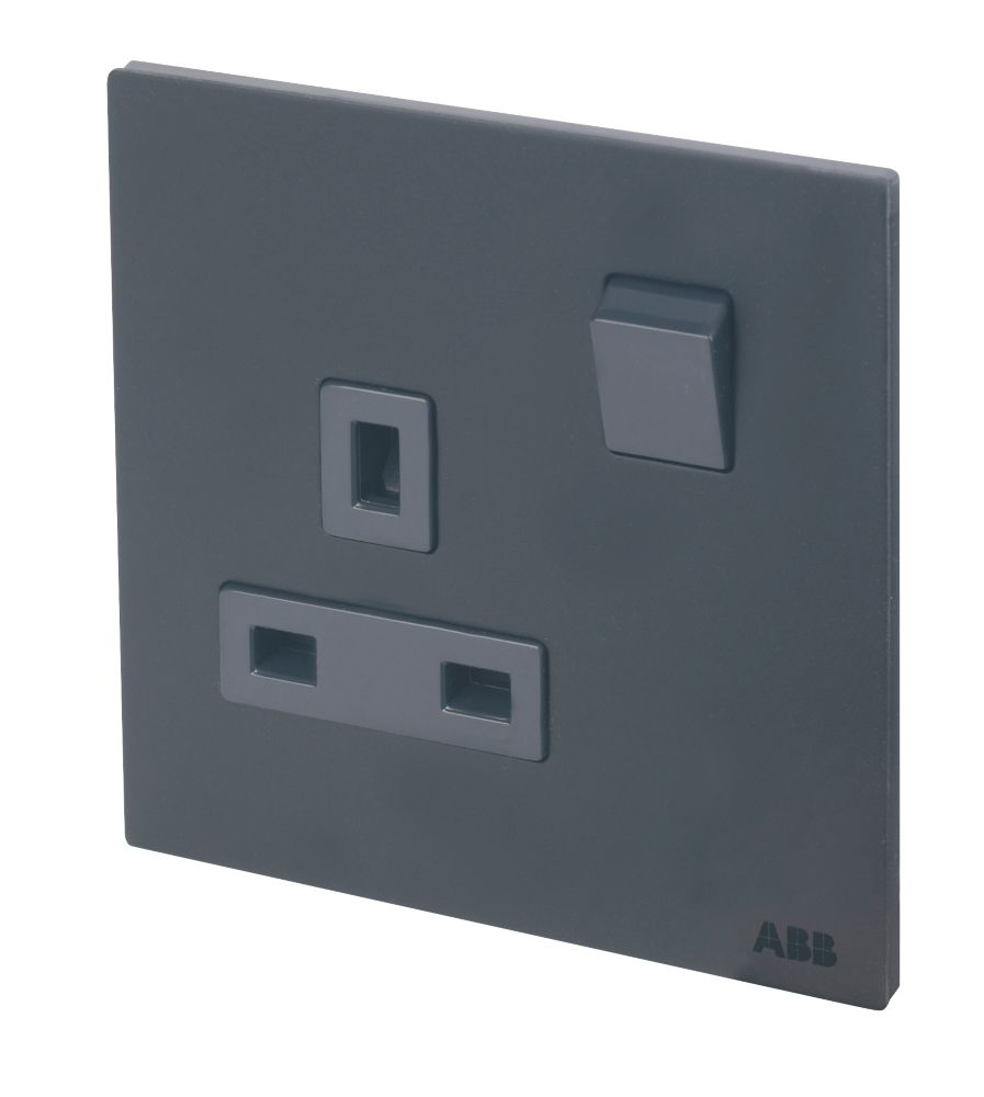 Image of ABB 13A 1-Gang DP Switched Socket Satin Stainless Steel Black Silk
