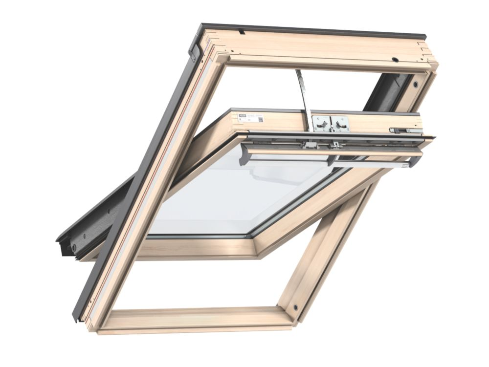 Image of Velux CK02 Mains Electric Centre-Pivot Lacquered Natural Pine Integra Roof Window Clear 550 x 780mm