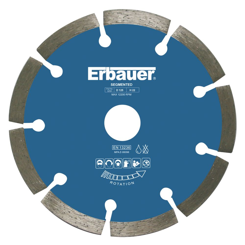 Image of Erbauer Segmented Diamond Blade 125 x 1.9 x 22.23mm