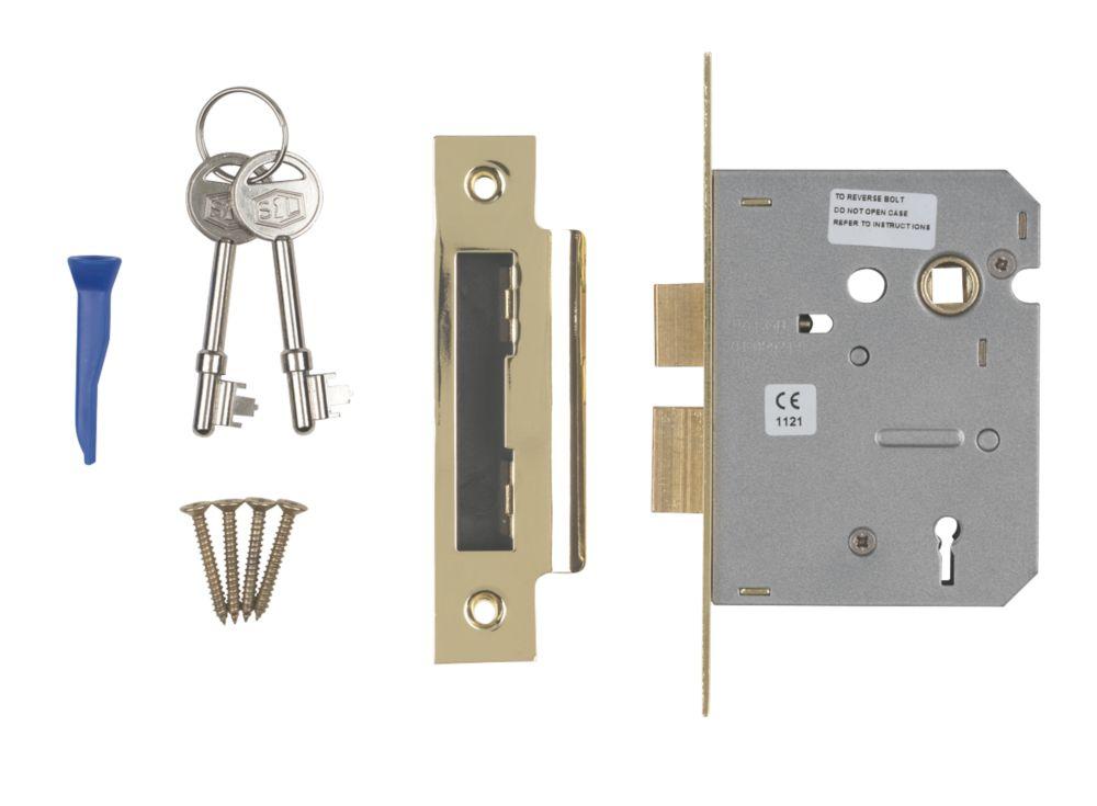 "Image of Smith & Locke 3-Lever 3-Lever Mortice Sashlock Electric Brass 3"" / 76mm"
