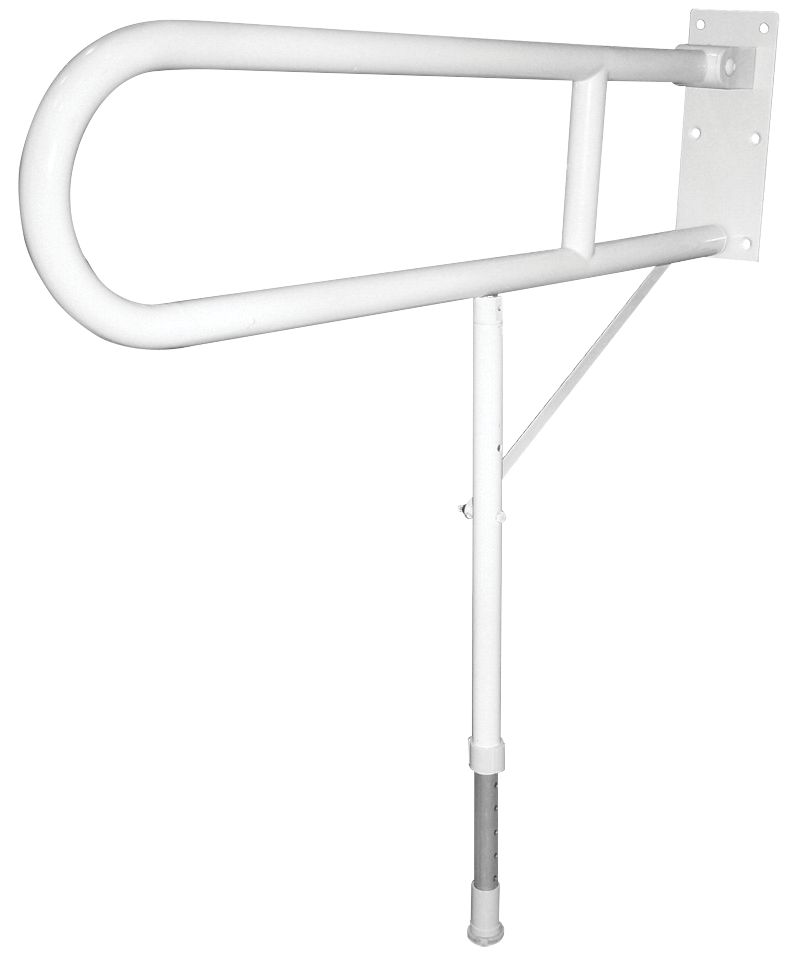 Image of Elderly & Disabled Double Support Hinged Rail w/Leg White 720 x 100 x 775-925mm