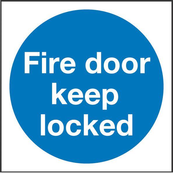"""Image of Fire Door Keep Locked"""" Sign 100 x 100mm"""