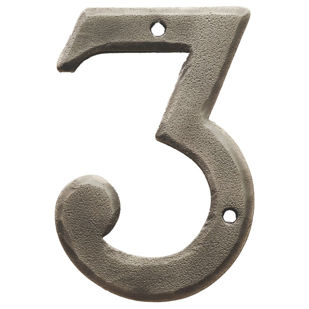 Image of Carlisle Brass Ludlow Door Numeral 3 Pewter Effect 78mm
