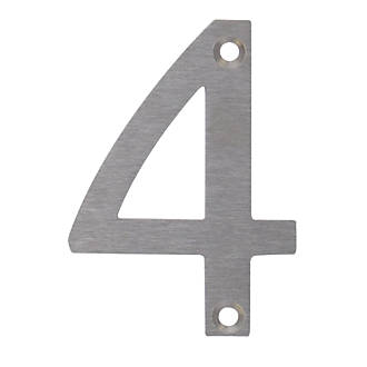 Image of Fab & Fix Door Numeral 4 Satin Stainless Steel 78mm