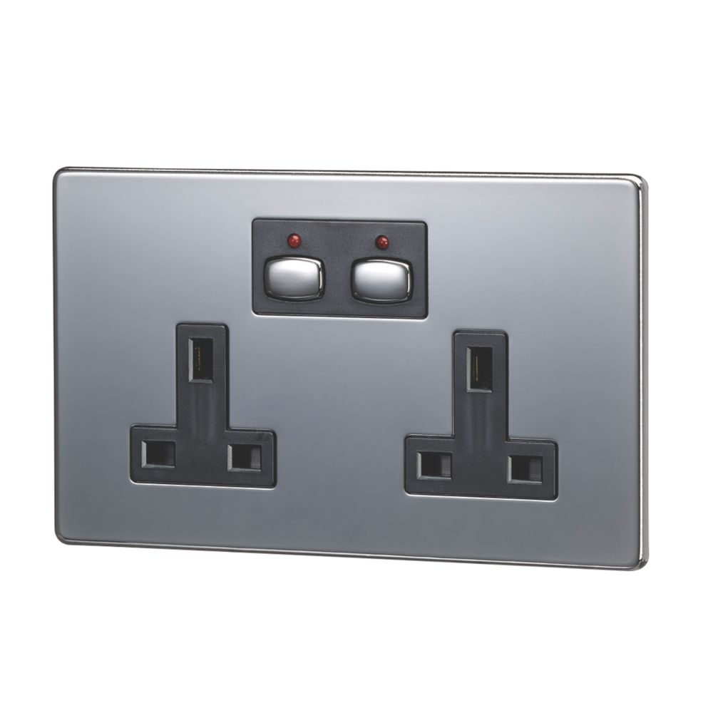 Image of Energenie MiHome 13A 2-Gang SP Switched Socket Black Nickel