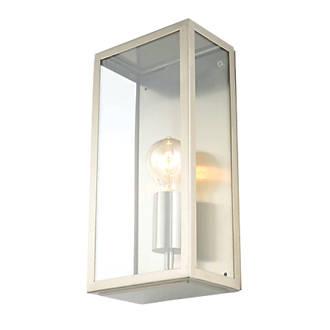 Image of Zinc Minerva Satin Nickel Metal Framed Box Lantern 60W