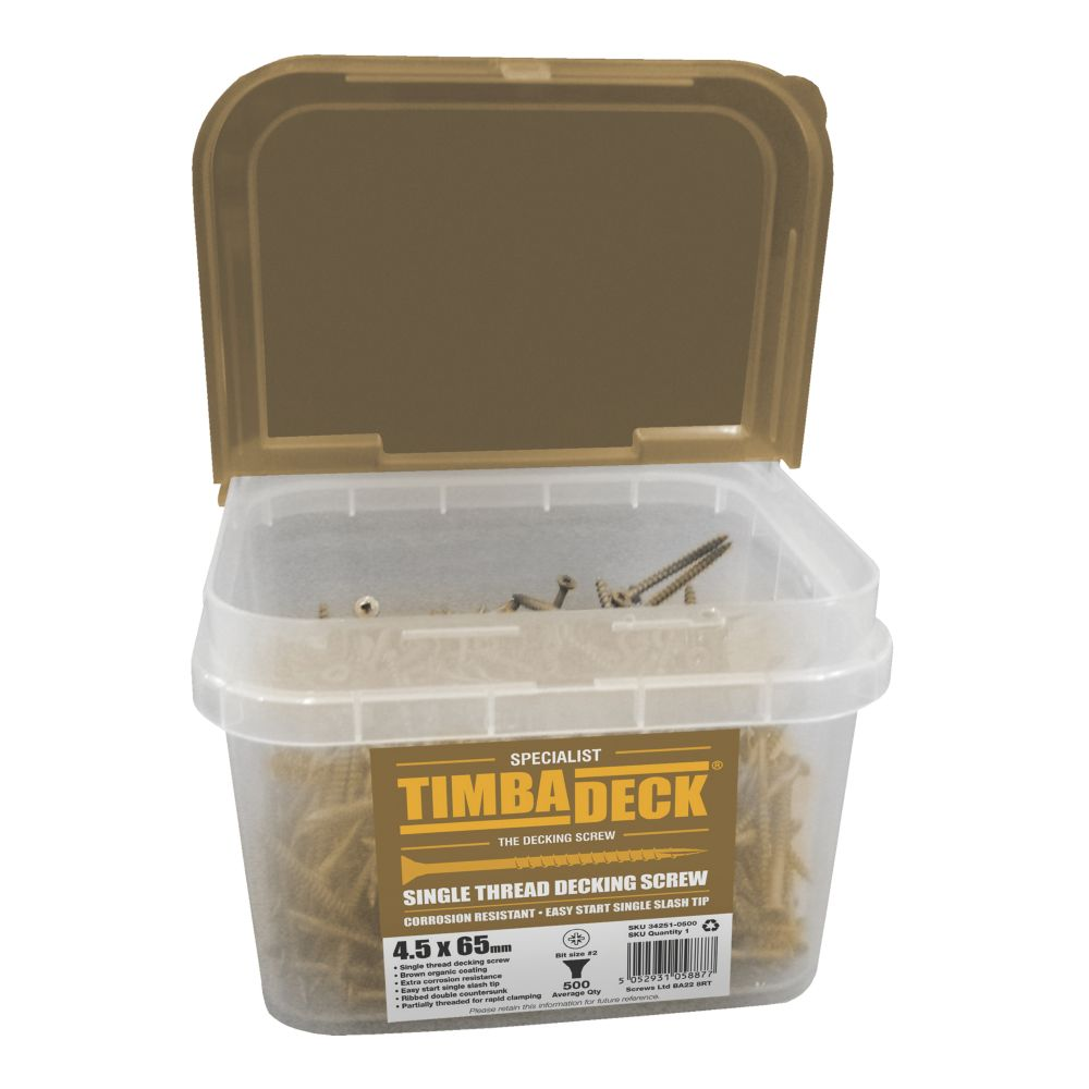 Image of Timbadeck Double Countersunk Carbon Steel Decking Screws 4.5 x 65mm 500 Pack
