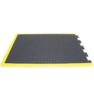Image of COBA Europe Bubblemat Anti-Fatigue End Mat Black / Yellow 1.2m x 0.9m
