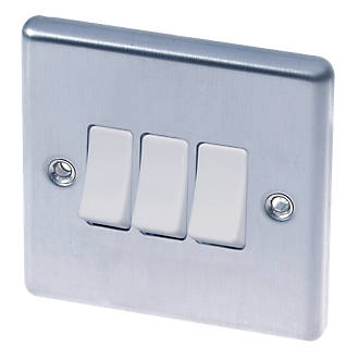 Image of LAP 10AX 3-Gang 2-Way Light Switch Stainless Steel