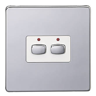 Image of Energenie 2-Gang 2-Way 1A Smart On/Off Light Switch Polished Chrome