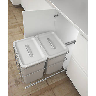 Image of Hafele Pull-Out Kitchen Bin Grey 2 x 16Ltr