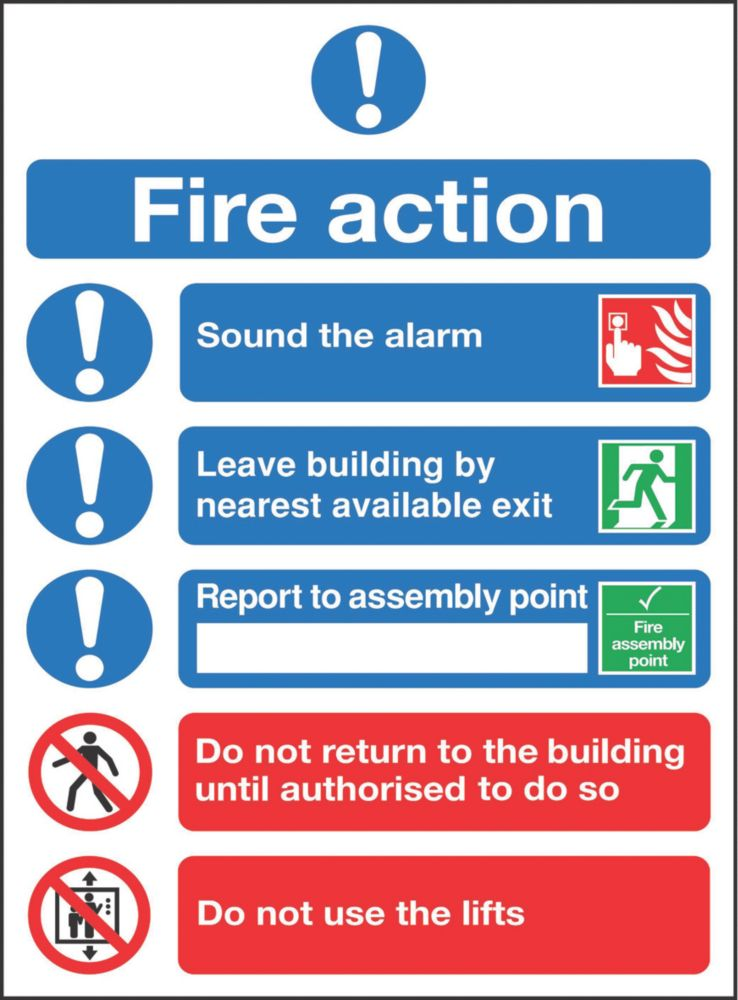 """Image of Fire Action"""" Notice Sign 300 x 250mm"""