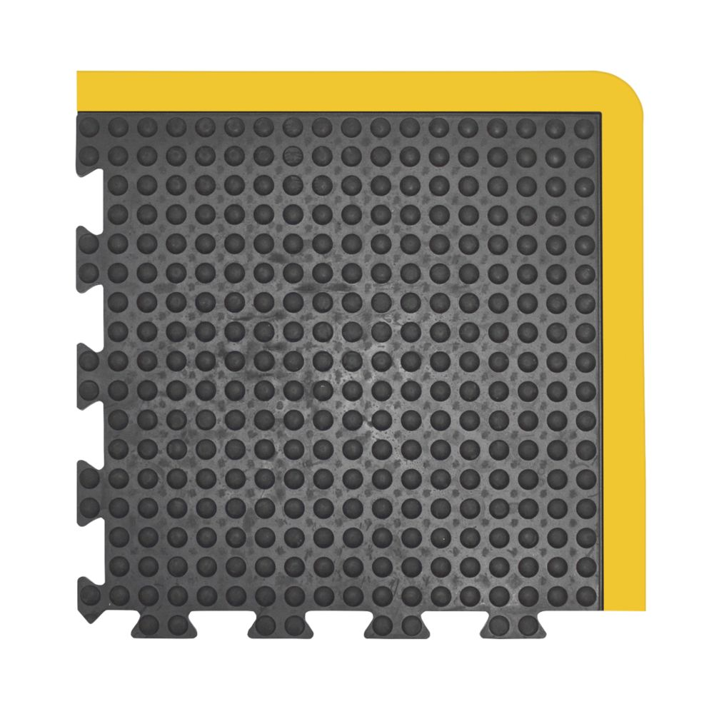 Image of COBA Europe Bubblemat Anti-Fatigue Corner Mat Black / Yellow 0.5m x 0.5m