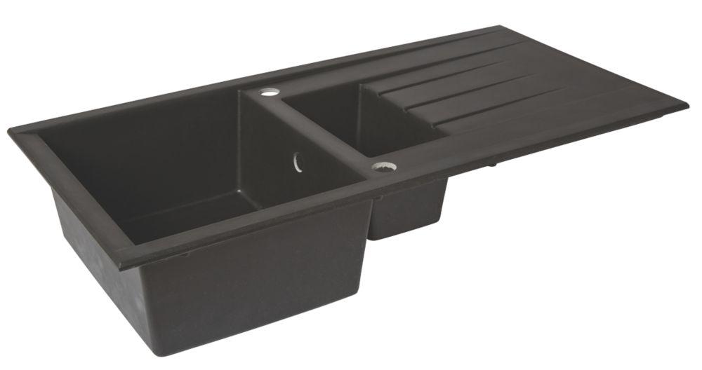 Image of Composite Kitchen Sink & Drainer Black 1-Bowl Reversible 1000 x 500mm