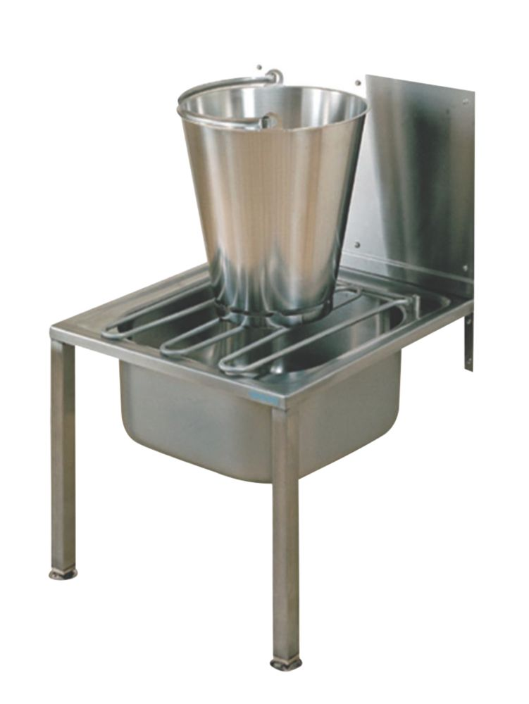 Image of Franke Floor-Standing Bucket Sink w/Splashback S/Steel 1-Bowl 500 x 517mm
