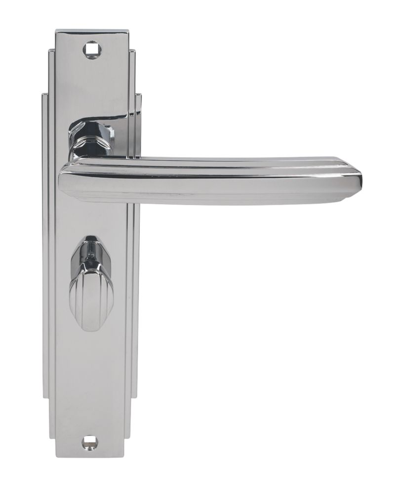 Image of Carlisle Brass Art Deco Lever on Backplate WC Door Handles Pair Polished Chrome
