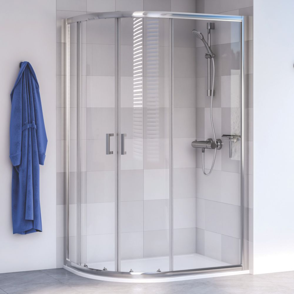 Image of Aqualux Edge 6 Offset Quadrant Shower Enclosure LH/RH Polished Silver 1200 x 800 x 1900mm