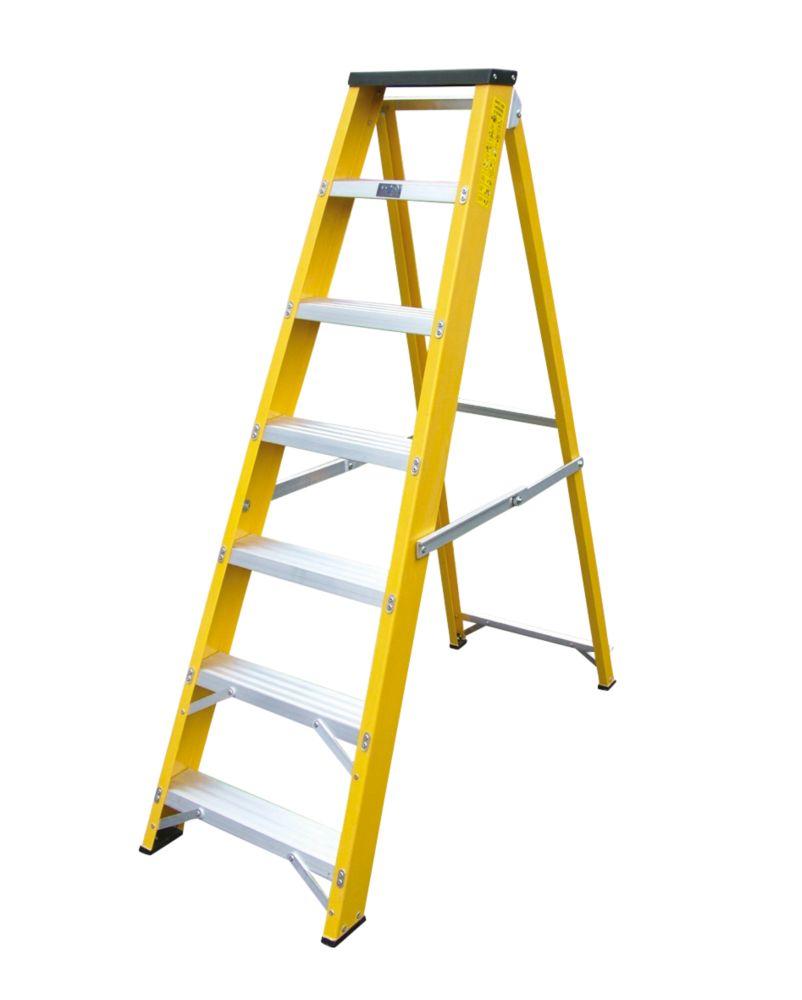 Image of Lyte GFBB7 Swingback Builders Step Ladder Fibreglass 7-Tread 1.44m