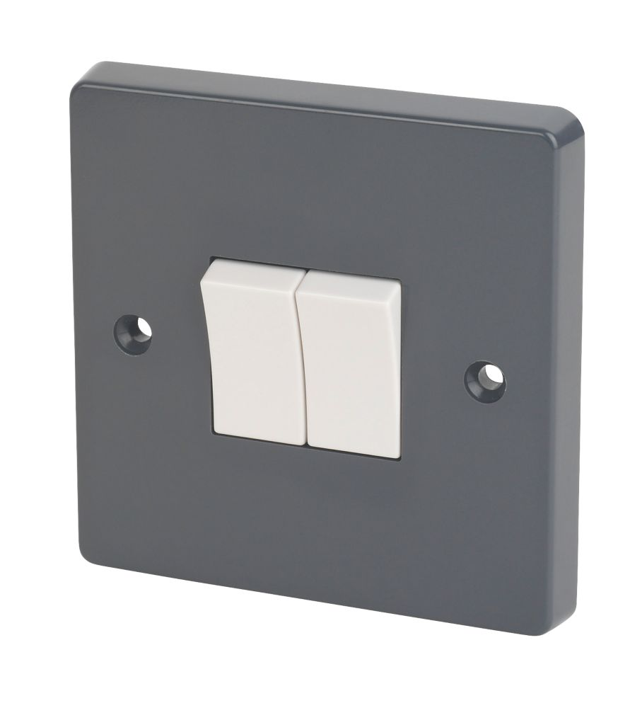 Image of Crabtree 10AX 2-Gang 2-Way SP Rocker Switch Smooth Grey
