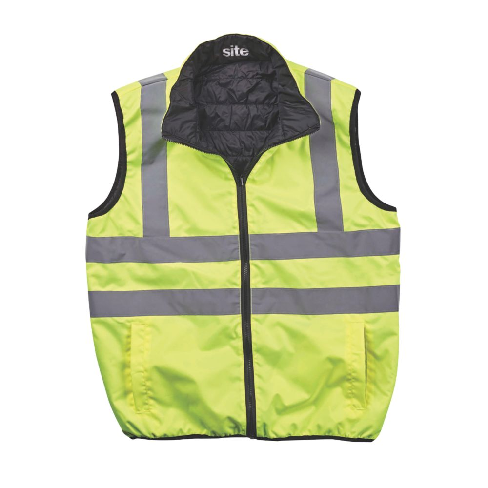 """Image of Site Reversible Hi-Vis Body Warmer Yellow Large 48"""" Chest"""