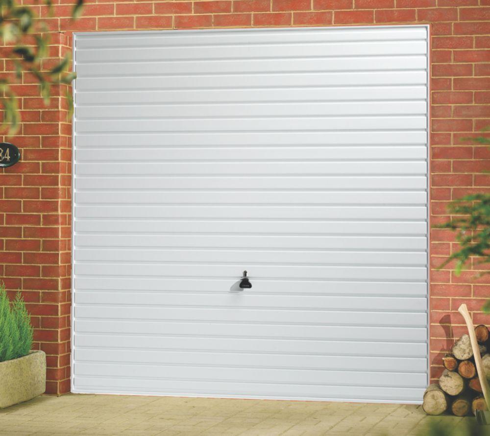 """Image of Horizon 7' 6 """" x 6' 6 """" Framed Steel Garage Door White"""