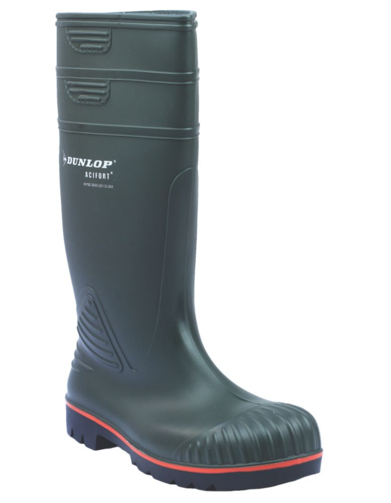 Image of Dunlop Safety Footwear Acifort Heavy Duty Safety Wellington Boots Green Size 9