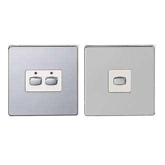 Image of Energenie 2-Gang 2-Way 1A Master & Slave Smart On/Off Light Switch Set Polished Chrome