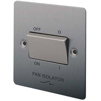 Image of LAP 10A 1-Gang 3-Pole Fan Isolator Switch Brushed Stainless Steel with Colour-Matched Inserts