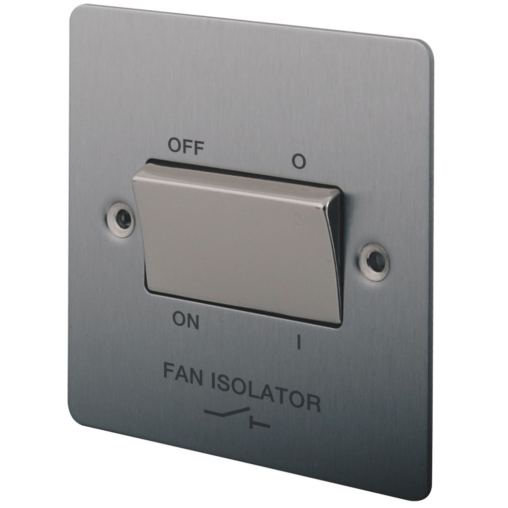 Image of LAP 10A 3-Pole Fan Isolator Switch Brushed Stainless Steel