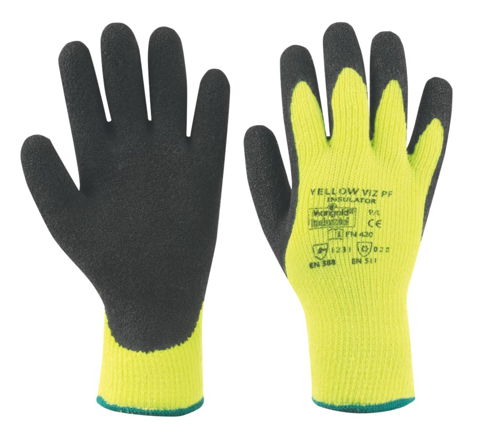 Image of Marigold Industrial Hi Viz Thermal Latex Palm Gloves Yellow Large