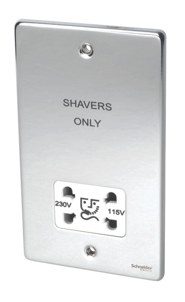Image of Schneider Dual Voltage Shaver Socket 115 / 230V Pol. Chrome w/ White Insert