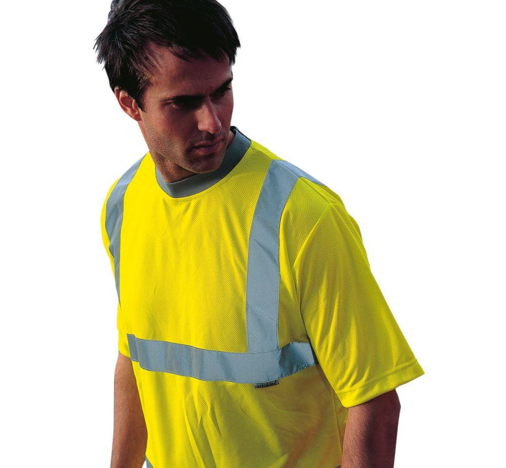 """Image of Dickies SA22080 Hi-Vis Safety T-Shirt Saturn Yellow Medium 42"""" Chest"""