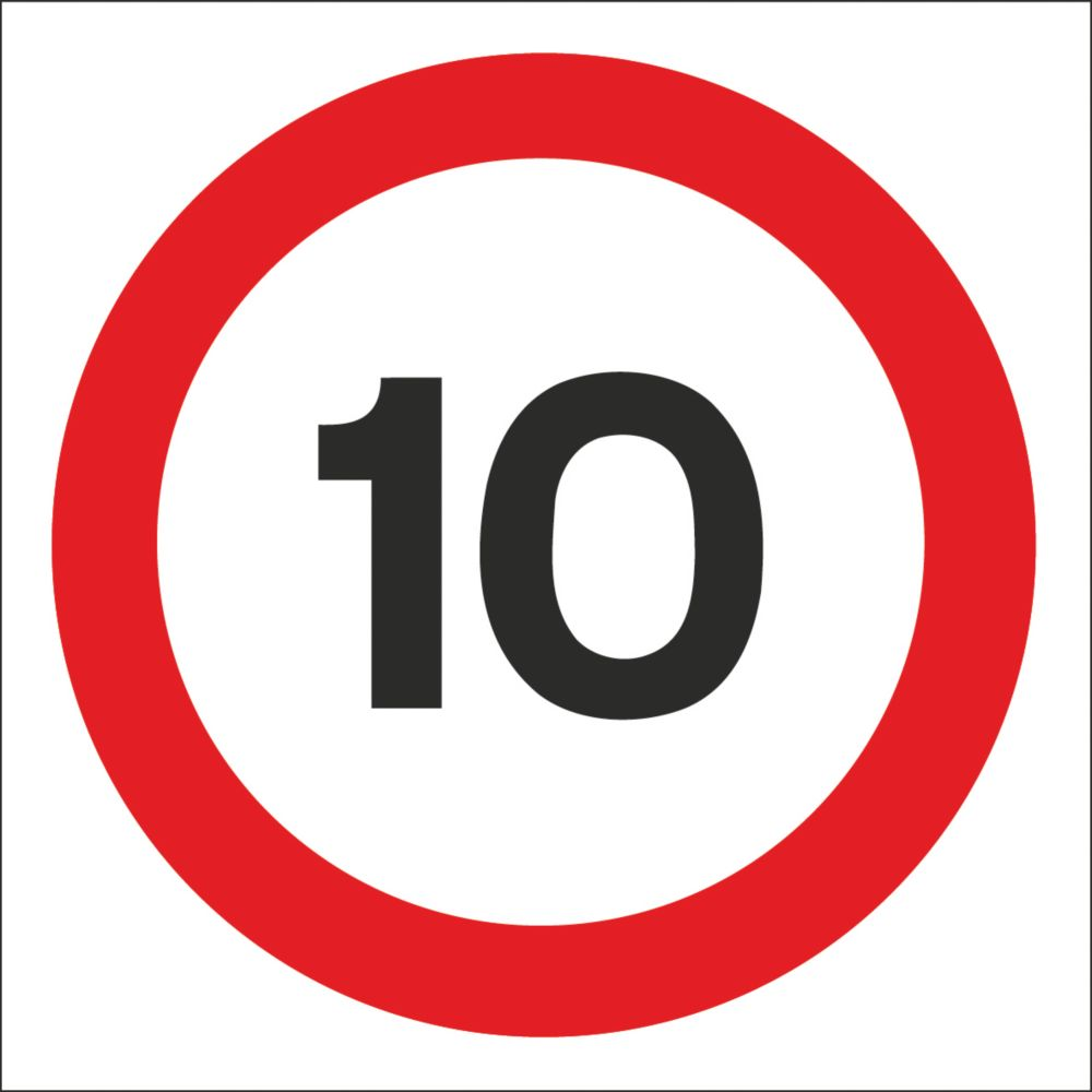 Image of 10mph Speed Limit Non-Reflective Stanchion Sign 450 x 450mm