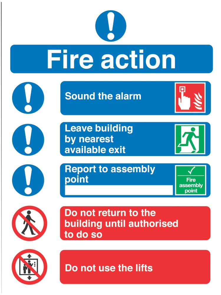 """Image of Fire Action"""" Notice Signs 230 x 172mm 50 Pack"""
