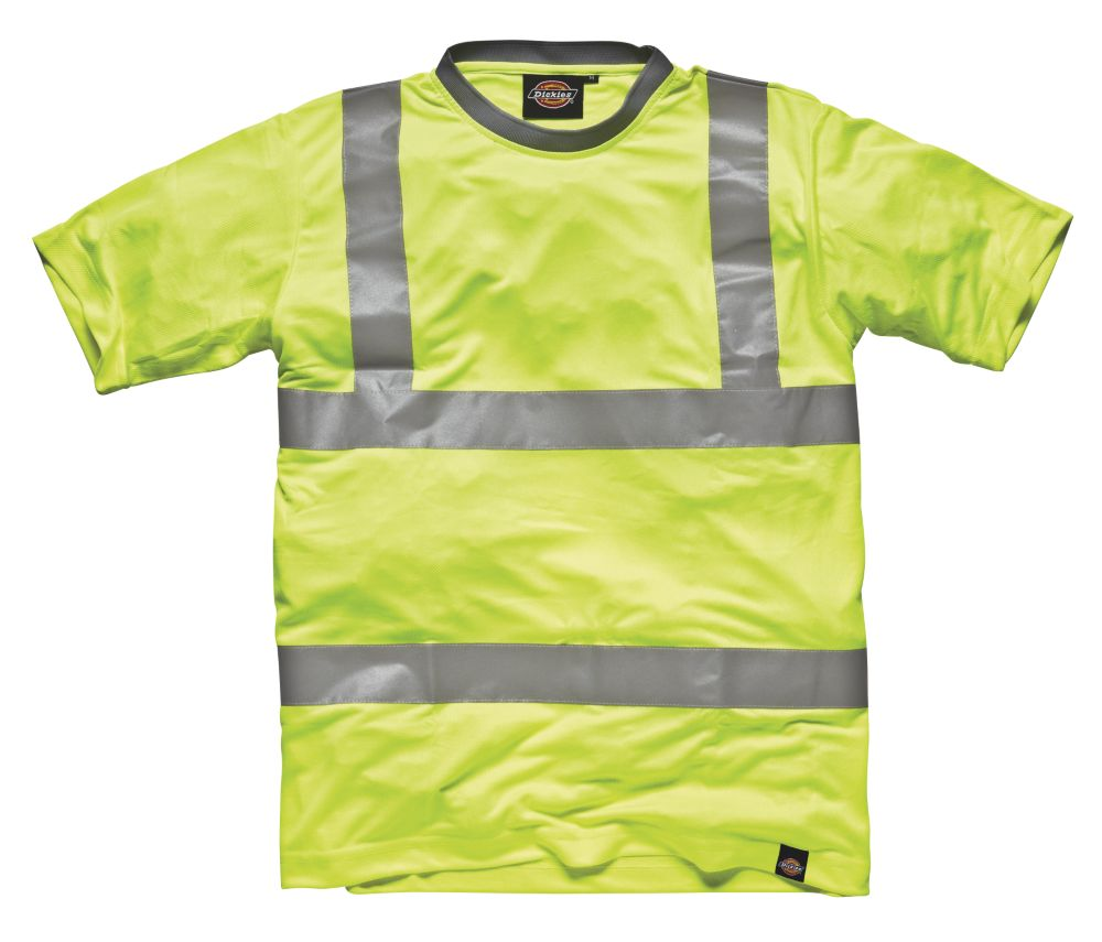 "Image of Dickies SA22080 Hi-Vis T-Shirt Saturn Yellow Large 46"" Chest"