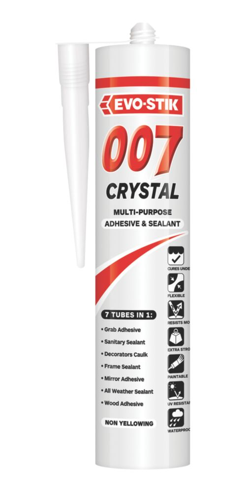 Image of Evo-Stik 007 Crystal Clear All-In-One Sealant & Adhesive Clear 290ml