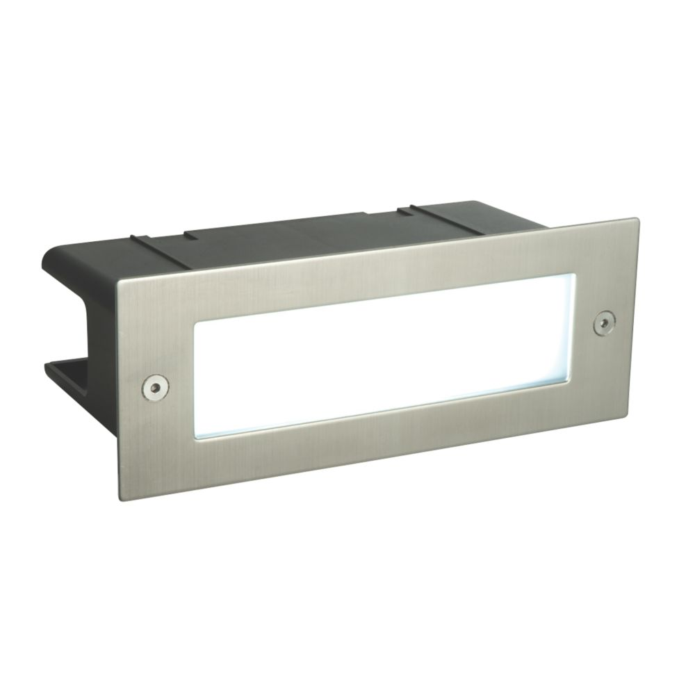 Image of Saxby Seina Recessed LED Brick Light Brushed Stainless Steel 4.5W